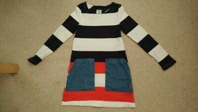 Joules girls tunic dress age blue red white stripes 7-8