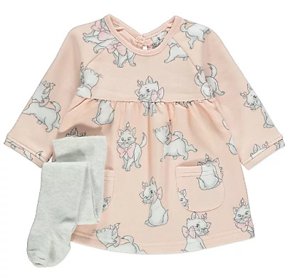 Disney Baby Girls The Aristocats Marie Peach Dress and Tights 2 Piece Outfit NEW