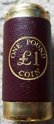 Vintage £1 One Pound COIN HOLDER Dark Red Real Leather Made in UK Antique