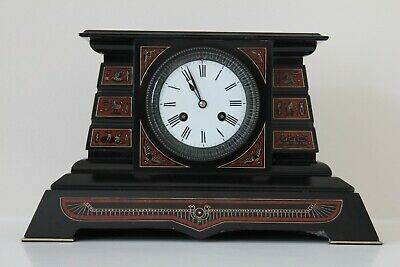 An Elegant Egyptian Theme French Slate Mantel Clock c1880