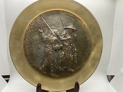 Antique Chinese Repoussé Brass Plate Two Fisherman