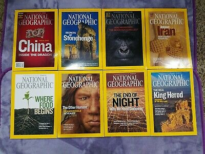 Lot of 8 National Geographic Magazines issues from 2008 with Maps Nice! NAT geo