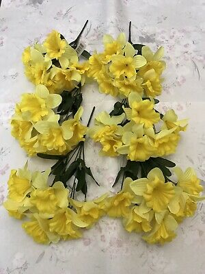 6x Yellow Daffodils Bunches Artificial Spring Flowers Easter Plant Bush Joblot