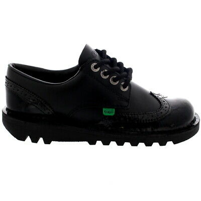 Ladies Kickers Kick Lo Brogue Core Lace Up Casual Black Smart Shoes All Sizes