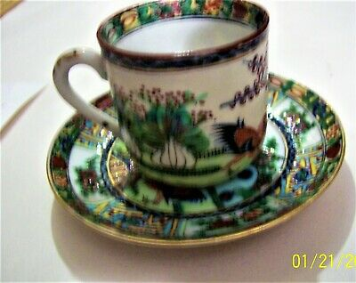 antique Chinese rooster/cabbage cup/saucer ca1915