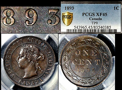 BLACK FRIDAY SALE - Canada 1c 1893 Triple Punched 9/9/9 - XF45 (a409)