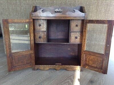 Antique English Smokers Cabinet Golden Oak Bevelled Glass