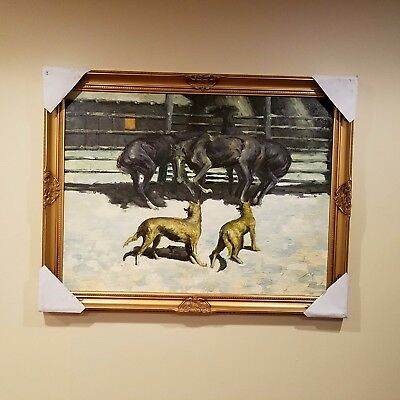 The Call for Help 1908 Remington Oil Painting Reproduction framed