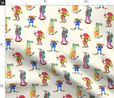 Frogs In Scarves Funny Frog Toad Watercolor Fabric Printed by Spoonflower BTY