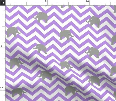 Elephant Chevron Baby Girls Elephants Purple Fabric Printed by Spoonflower BTY
