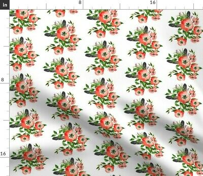 Floral Feathers Red Pink Flowers Woodland Fabric Printed by Spoonflower BTY