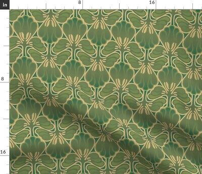 Deco Floral Camouflage Green Vintage Style Art Fabric Printed by Spoonflower BTY