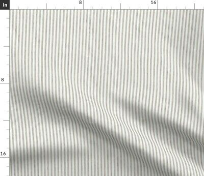 Shabby Chic French White Antique Brown Stripes Fabric Printed by Spoonflower BTY