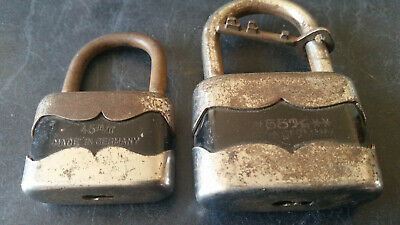 2 x vintage made in germany  padlocks with key
