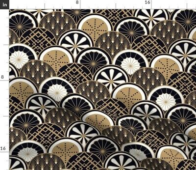 Art Deco Vintage Style 1920S Brown 1920 Earth Fabric Printed by Spoonflower BTY
