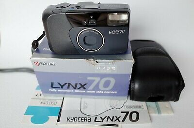 KYOCERA LYNX 70 35-70mm ZOOM ens. Point & Shoot Film Camera, WORKING! BOX PAPERS
