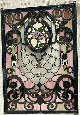 Antique Stained GLASS WINDOW ART NOUVEAU Cabochon Gems Jewels Crystals Roses Ivy