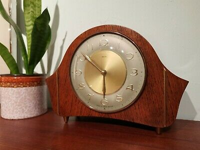 Vintage Smiths Mantle Clock Arabic Numerals Chimes with Key and Instructions