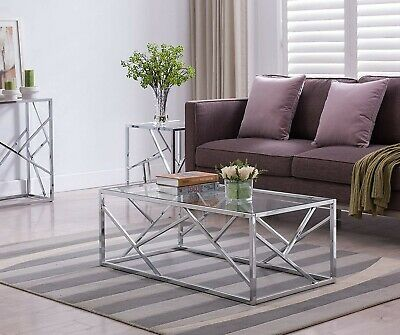 Coffee Table Glass Top Furniture Living Room Modern Chrome Contemporary Clear