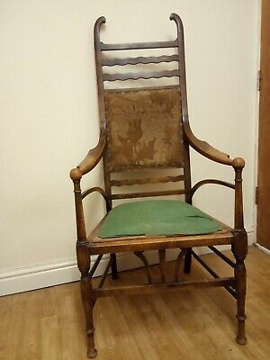 antique arts & crafts art nouveau chair, Ellwood, js henry oak arm chair