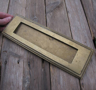 Vintage Brass Letter Box Plate with WORKING SPRING 11""
