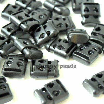 "Black Square (Hole = 1/8"") 2 Holes Cordlock Spring Cord Locks Toggles Barrel End"