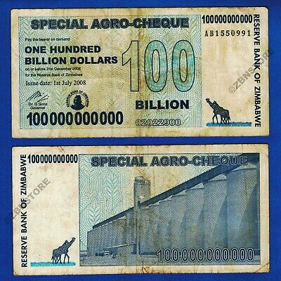 Zimbabwe 100 Billion Dollars Special Agro Cheque AA AB 2008 Circulated Authentic