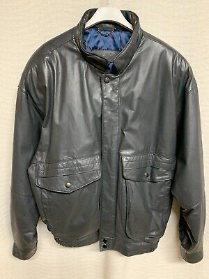 Mens ST MICHAEL Retro Grey Leather Bomber Jacket Size L