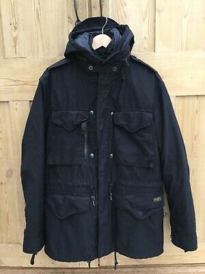 Mens Black Polo By Ralph Lauren Coat With Removable Inner Jacket Size L Genuine