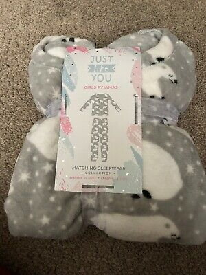 Girls Polar Bear Fleece Pyjamas PJs Age 12-13 Years BNWT Long Sleeve Grey