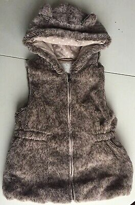 Tu Clothing 5-6 Years Girls Hooded Zip Furry Vest
