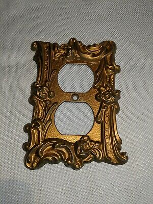 Vintage Art Deco Light Switch Cover Outlet Gold Metal