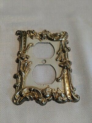 Vintage Art Deco Light Switch Cover Outlet White Gold Metal Charm-n-Style