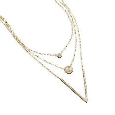 Three Strand Layered V Necklace Gold-plated Sterling Silver Cubic Zirconia