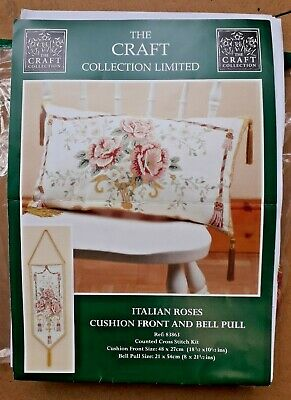 Italian Roses Cushion Front and Bell Pull Cross Stitch kit Craft Collection Ltd
