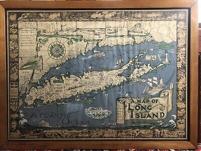 Orig 1st Ed 1933 Courtland Smith Pictorial Map of Long Island NY