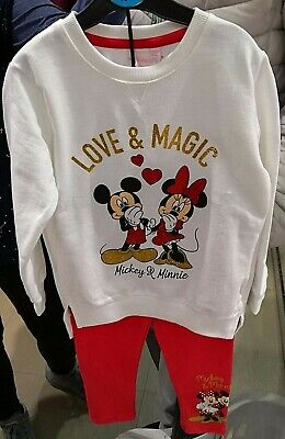 Minnie Mickey Mouse Disney Girl's PJ Pyjama Set Sizes 3-4 YRS, 5-6 YRS, 7-8 YRS