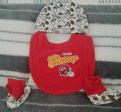 KC Chiefs Infant Baby Hat Booties And Bib  New