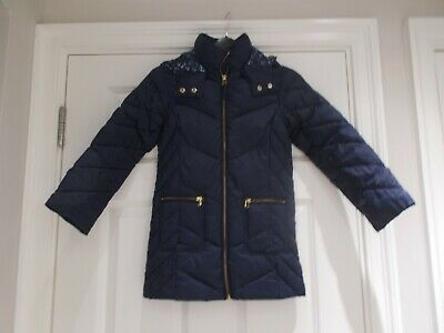 girls next navy hooded coat puffa padded age 7 years