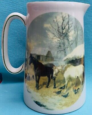 Beautiful large vintage Heron Cross pottery jug decorated with horses