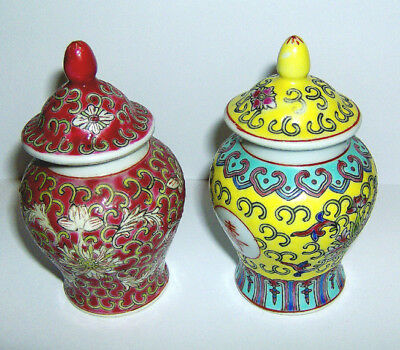 2 CHINESE GINGER JARS ( Hand painted MUN SHOU design ) 90mm height excellent .