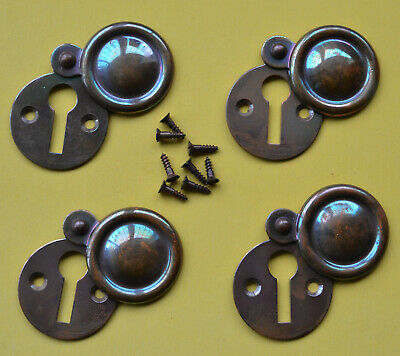 4 BRONZED KEYHOLE ESCUTCHEON PLATES WITH SCREWS - UNUSED - FROM 1950s