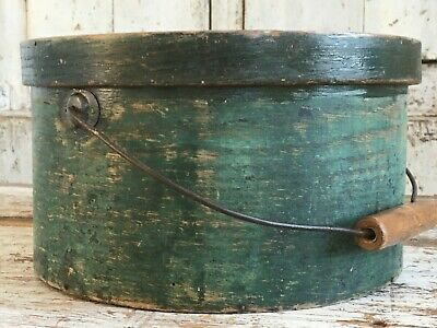 Rare Early Aafa Antique Primitive Pantry Box Wood Bucket Original Paint Green