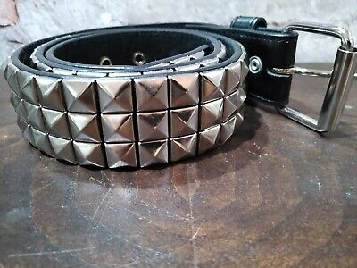2R Big Bright Metal Pyramid Studded Leather Belt Punk Rock Goth Emo Skater Biker