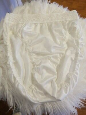Hanes white Nylon Hi-Cut Brief Panty Lace Waist Thin Silky Almost Sheer S sissy