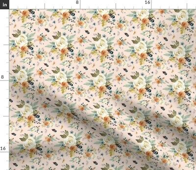 Peach Pink Boho Feathers Woodland Flowers Fabric Printed by Spoonflower BTY