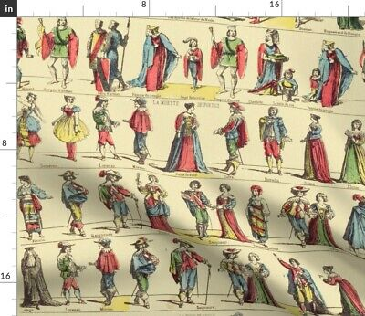 Theater Actors French Victorian Antique Fabric Printed by Spoonflower BTY