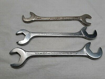 """Lot of 3 Vintage Fairmount SAE Open End Angle Wrenches 11/16"""", 3/4"""", 13/16"""" USA"""
