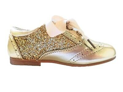BNWT Gold Sequin Glitter Spanish Patent Party Girls Kids Shoes Size 9 / EU 27