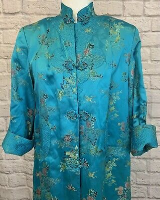 Vintage Peony Brand Silk Asian Kimono Robe Dress Jacket Shanghai China Sz 36